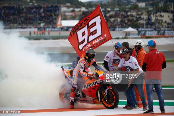 Marc Marquez of Spain and Repsol Honda Team celebrates the victory after the race of Gran Premio Motul de la Comunitat Valenciana at Ricardo Tormo...