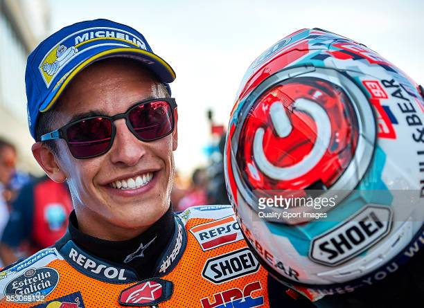 Marc Marquez of Spain and Repsol Honda Team celebrates victory after the MotoGP of Aragon at Motorland Aragon Circuit on September 24 2017 in Alcaniz...
