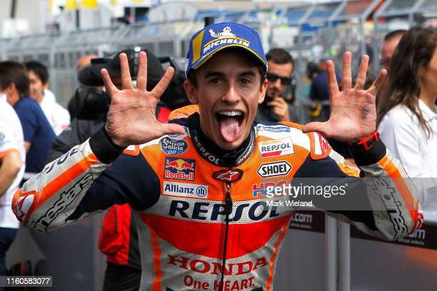 Marc Marquez of Spain and Repsol Honda Team celebrates winning the MotoGP of Germany at Sachsenring Circuit on July 07 2019 in HohensteinErnstthal...