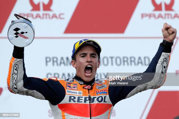 15th July 2018 Sachsenring HohensteinErnstthal Germany German Motorcycle Grand Prix RaceDay From left Valentino Rossi winner Marc Marquez and...