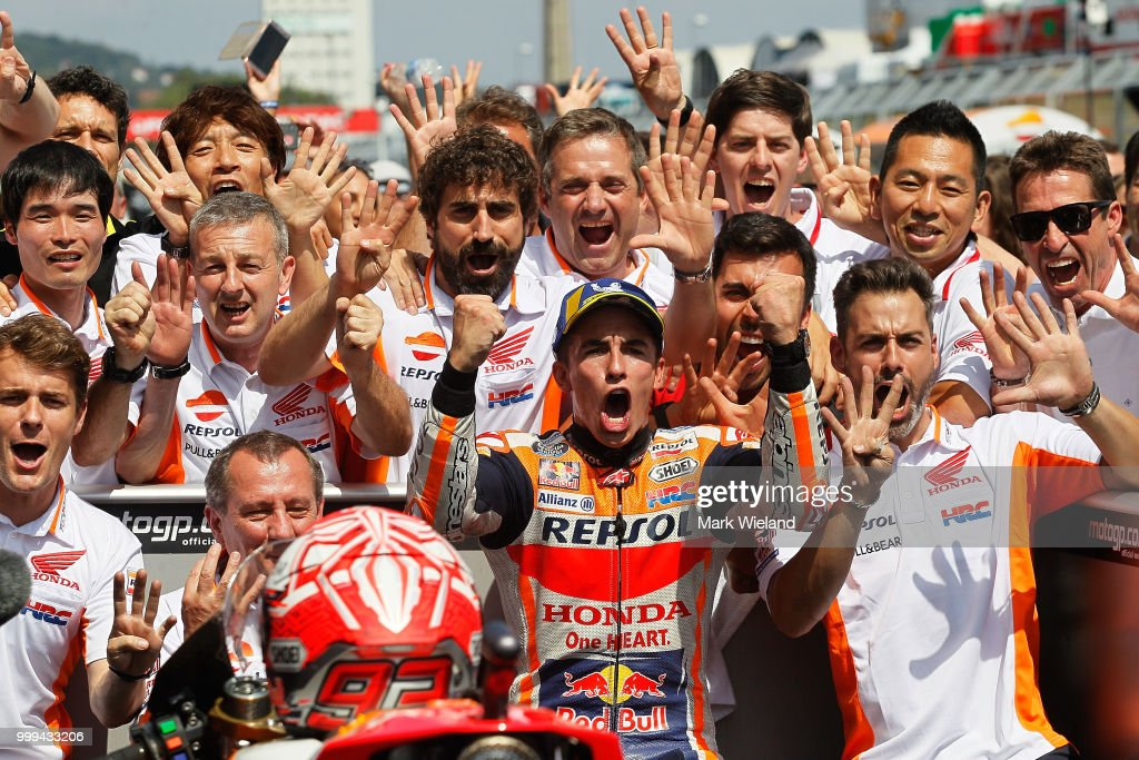Marc Marquez of Spain and Repsol Honda Team celebrates winning the MotoGP of Germany at Sachsenring Circuit on July 15, 2018 in Hohenstein-Ernstthal, Germany.