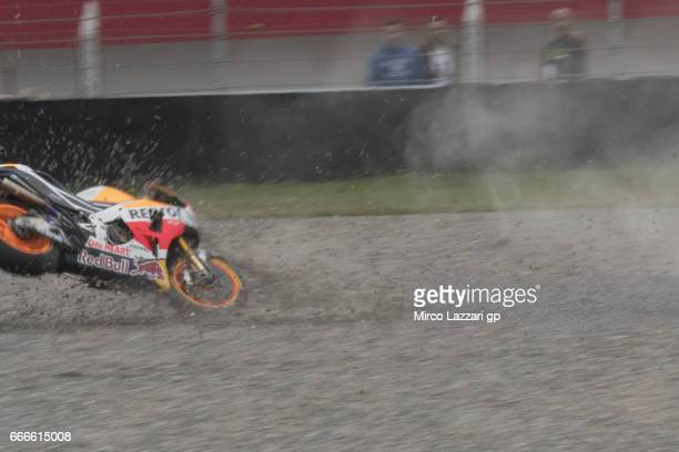 Marc Marquez of Spain and Repsol Honda Team crashed out during the MotoGP race during the MotoGp of Argentina Race on April 9 2017 in Rio Hondo...