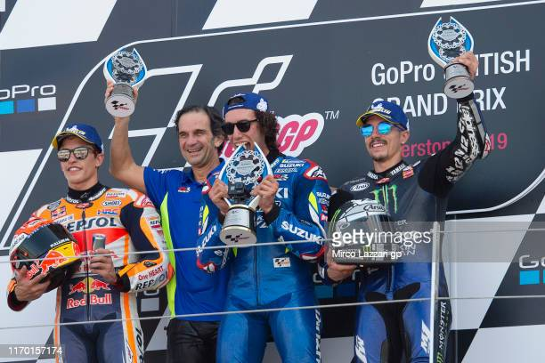 Marc Marquez of Spain and Repsol Honda Team, Davide Brivio of Italy, Alex Rins of Spain and Team Suzuki ECSTAR and Maverick Vinales of Spain and...