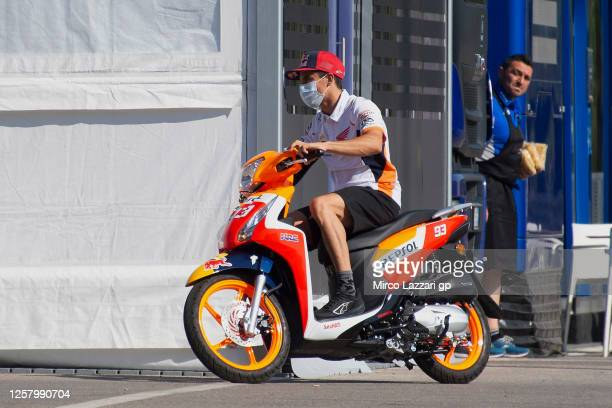 Marc Marquez of Spain and Repsol Honda Team drives the scooter in paddock during the MotoGP of Andalucia - Free Practice at Circuito de Jerez on July...