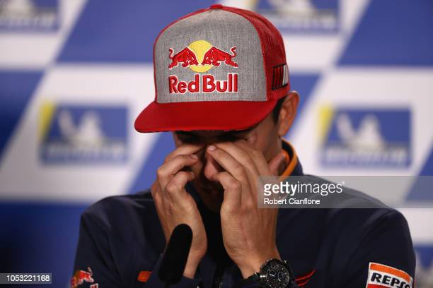 Marc Marquez of Spain and Repsol Honda Team during a press conference ahead of the 2018 MotoGP of Australia at Phillip Island Grand Prix Circuit on...