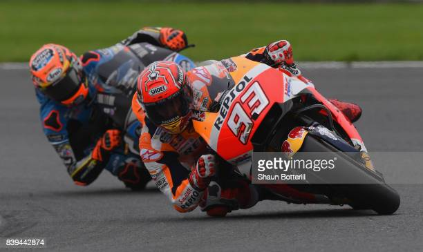 Marc Marquez of Spain and Repsol Honda Team during Free Practice 3 at Silverstone Circuit on August 26 2017 in Northampton England