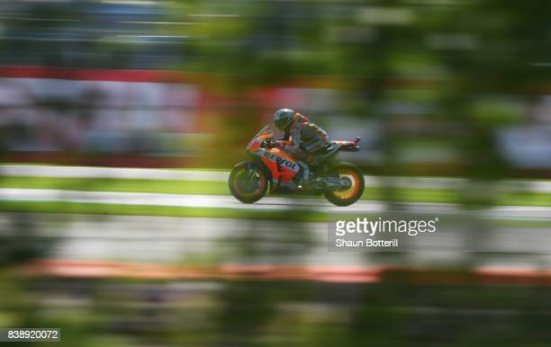 Marc Marquez of Spain and Repsol Honda Team during Free Practice at Silverstone Circuit on August 25 2017 in Northampton England