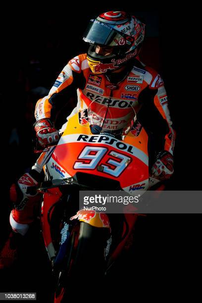 Marc Marquez of Spain and Repsol Honda Team during qualifying for the Gran Premio Movistar de Aragon of world championship of MotoGP at Motorland...