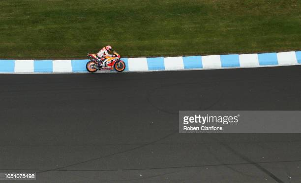Marc Marquez of Spain and Repsol Honda Team during qualifying for the 2018 MotoGP of Australia at Phillip Island Grand Prix Circuit on October 27,...