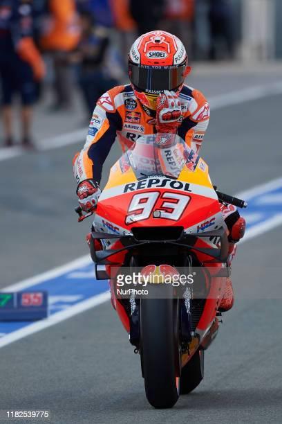 Marc Marquez of Spain and Repsol Honda Team during the free practice of Gran Premio Motul de la Comunitat Valenciana at Ricardo Tormo Circuit on...