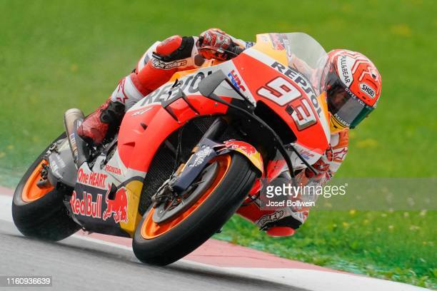 Marc Marquez of Spain and Repsol Honda Team during the MotoGp of Austria Warm up at Red Bull Ring on August 11 2019 in Spielberg Austria