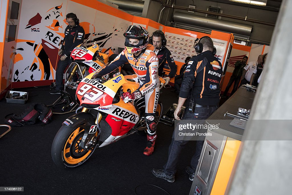 Marc Marquez of Spain and Repsol Honda Team exits the pits before practice at the MotoGP race of Red Bull U.S. Grand Prix at Mazda Raceway Laguna Seca on July 19, 2013 in Monterey, California.