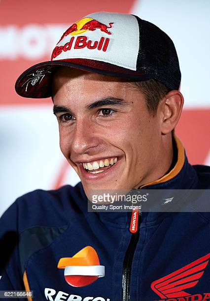 Marc Marquez of Spain and Repsol Honda Team faces the media during a press conference ahead of the MotoGP of Valencia at Comunitat Valenciana Ricardo...