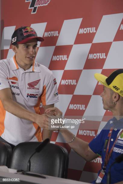 Marc Marquez of Spain and Repsol Honda Team greets Valentino Rossi of Italy and Movistar Yamaha MotoGP during the MotoGp of Argentina Previews on...