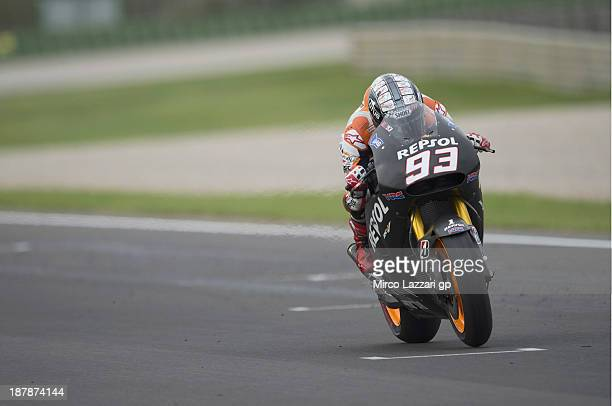 Marc Marquez of Spain and Repsol Honda Team heads down a straight during day 3 of MotoGP tests at Ricardo Tormo Circuit on November 13 2013 in...