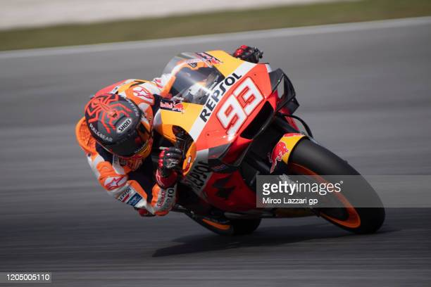 Marc Marquez of Spain and Repsol Honda Team heads down a straight during the MotoGP Pre-Season Tests at Sepang Circuit on February 09, 2020 in Kuala...