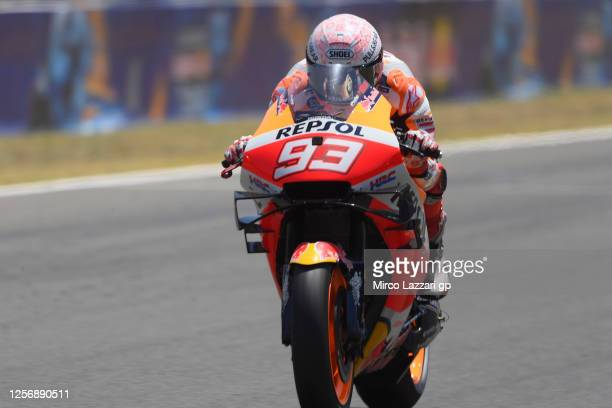 Marc Marquez of Spain and Repsol Honda Team heads down a straight during the MotoGP of Spain - Qualifying at Circuito de Jerez on July 18, 2020 in...