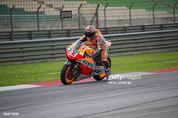 Marc Marquez of Spain and Repsol Honda Team heads down a straight during the MotoGP Tests in Sepang Day Five at Sepang Circuit on February 7 2013 in...