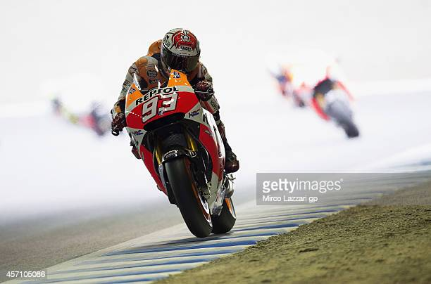 Marc Marquez of Spain and Repsol Honda Team heads down a straight during the MotoGP race during the MotoGP Of Japan Race at Twin Ring Motegi on...
