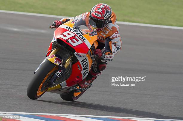 Marc Marquez of Spain and Repsol Honda Team heads down a straight during the MotoGp of Argentina Qualifying on April 18 2015 in Rio Hondo Argentina