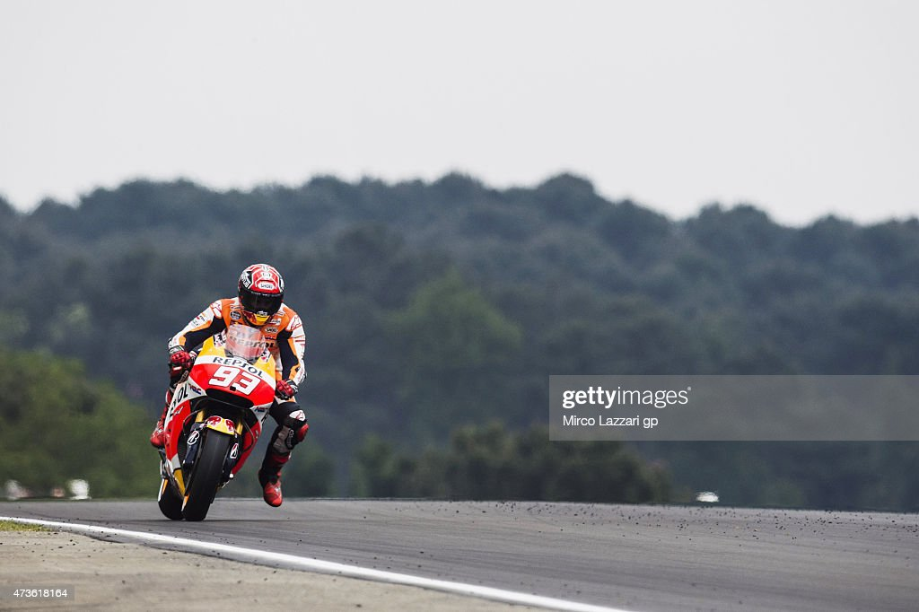 Marc Marquez of Spain and Repsol Honda Team heads down a straight during the qualifying practice during the MotoGp of France - Qualifying at on May 16, 2015 in Le Mans, France.