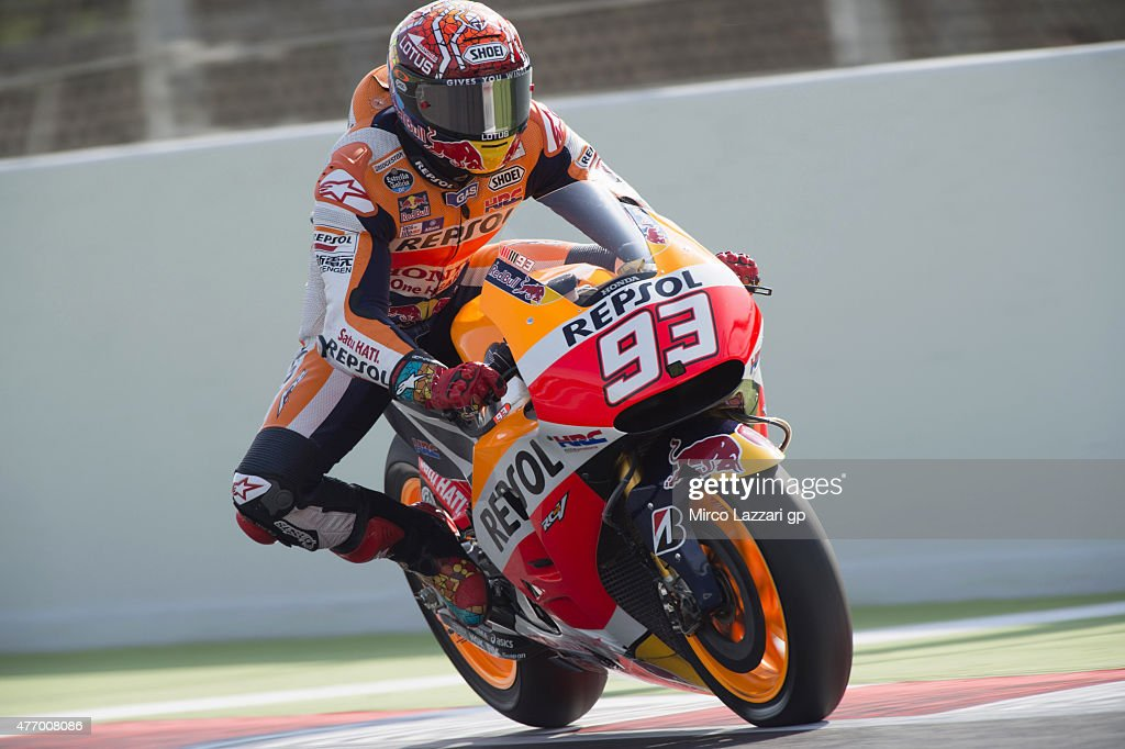 Marc Marquez of Spain and Repsol Honda Team heads down a straight during the MotoGp of Catalunya - Qualifying at Circuit de Catalunya on June 13, 2015 in Montmelo, Spain.