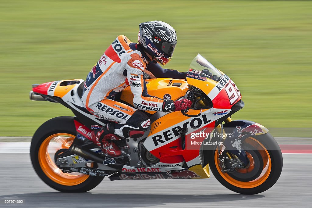 Marc Marquez of Spain and Repsol Honda Team heads down a straight during the MotoGP Tests In Sepang at Sepang Circuit on February 2, 2016 in Kuala Lumpur, Malaysia.