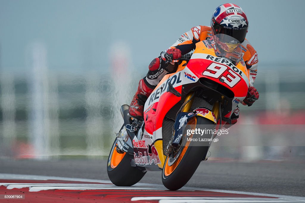 Marc Marquez of Spain and Repsol Honda Team heads down a straight during the MotoGp Red Bull U.S. Grand Prix of The Americas - Qualifying at Circuit of The Americas on April 9, 2016 in Austin, Texas.