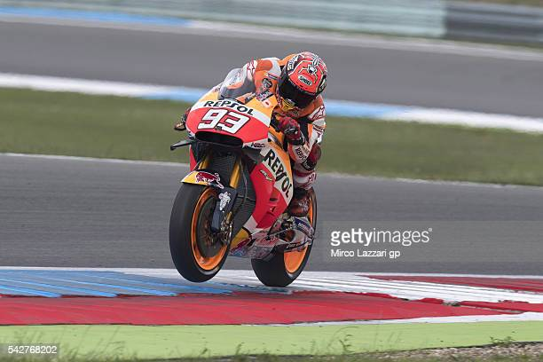 Marc Marquez of Spain and Repsol Honda Team heads down a straight during the MotoGP Netherlands Free Practice at TT Circuit on June 24 2016 in Assen...