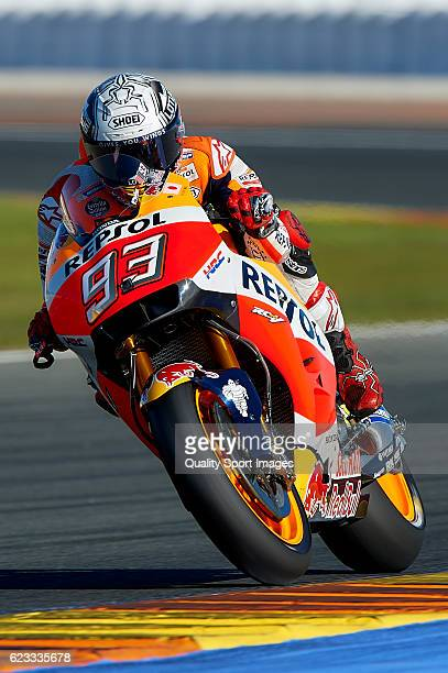 Marc Marquez of Spain and Repsol Honda Team heads down a straight during the MotoGP Test in Valencia at Ricardo Tormo Circuit on November 15, 2016 in...