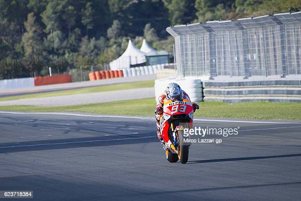 Marc Marquez of Spain and Repsol Honda Team heads down a straight during the MotoGP Pre Season Test in Valencia at Ricardo Tormo Circuit on November...