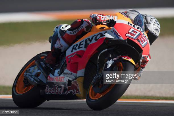 Marc Marquez of Spain and Repsol Honda Team heads down a straight during the Comunitat Valenciana Grand Prix Moto GP Previews at Comunitat Valenciana...