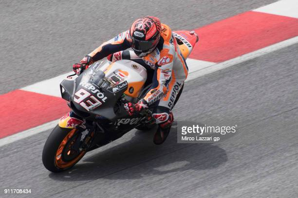 Marc Marquez of Spain and Repsol Honda Team heads down a straight during the MotoGP Tests In Sepang at Sepang Circuit on January 29 2018 in Kuala...