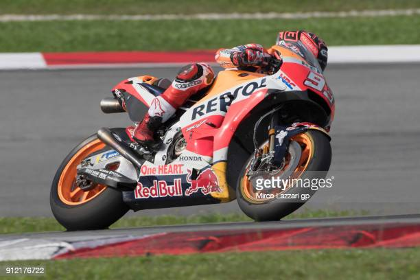 Marc Marquez of Spain and Repsol Honda Team heads down a straight during the MotoGP test in Sepang at Sepang Circuit on January 30 2018 in Kuala...