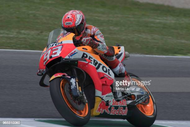 6341a89a18 Marc Marquez of Spain and Repsol Honda Team heads down a straight during  the MotoGp of