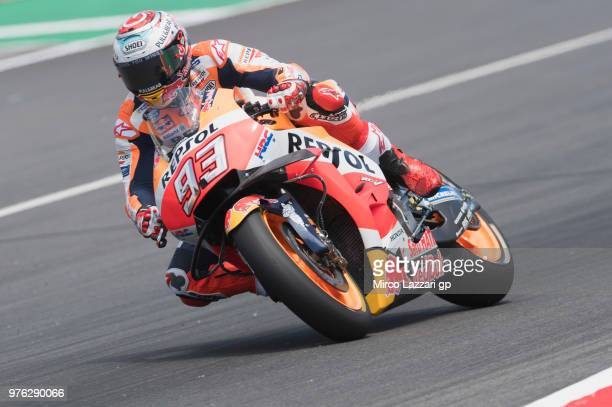 Marc Marquez of Spain and Repsol Honda Team heads down a straight during the qualifying practice during the MotoGp of Catalunya Qualifying at Circuit...