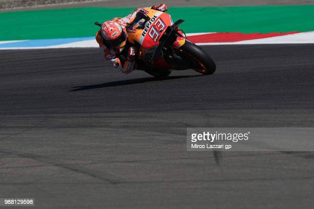 Marc Marquez of Spain and Repsol Honda Team heads down a straight during the Qualifying practice during the MotoGP Netherlands Qualifying on June 30...