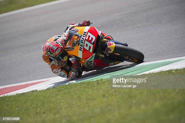 Marc Marquez of Spain and Repsol Honda Team heads rounds the bend during the Michelin tires test during the MotoGp Tests At Mugello at Mugello...