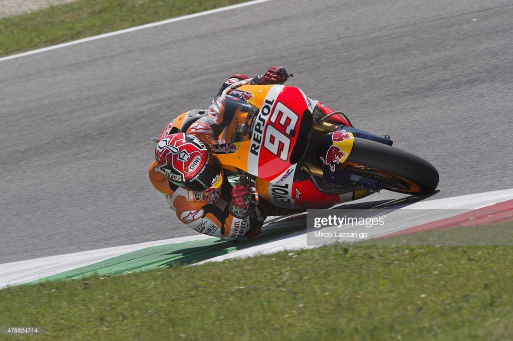 Marc Marquez of Spain and Repsol Honda Team heads rounds the bend during the Michelin tires test during the MotoGp Tests At Mugello at Mugello Circuit on June 1, 2015 in Scarperia, Italy.