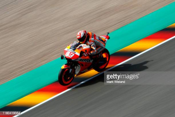 Marc Marquez of Spain and Repsol Honda Team in action during qualifying at Sachsenring Circuit on July 06, 2019 in Hohenstein-Ernstthal, Germany.