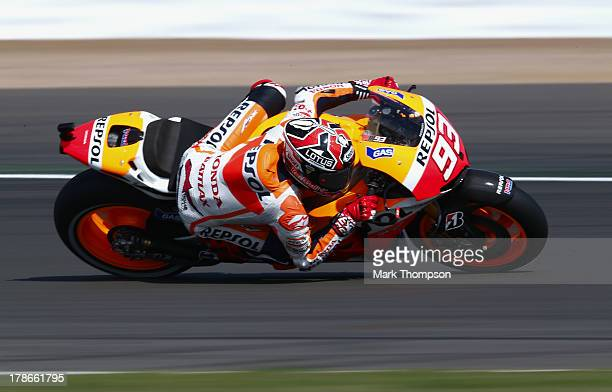 Marc Marquez of Spain and Repsol Honda team in action during first practice for the Hertz British Moto GP at Silverstone Circuit on August 30 2013 in...