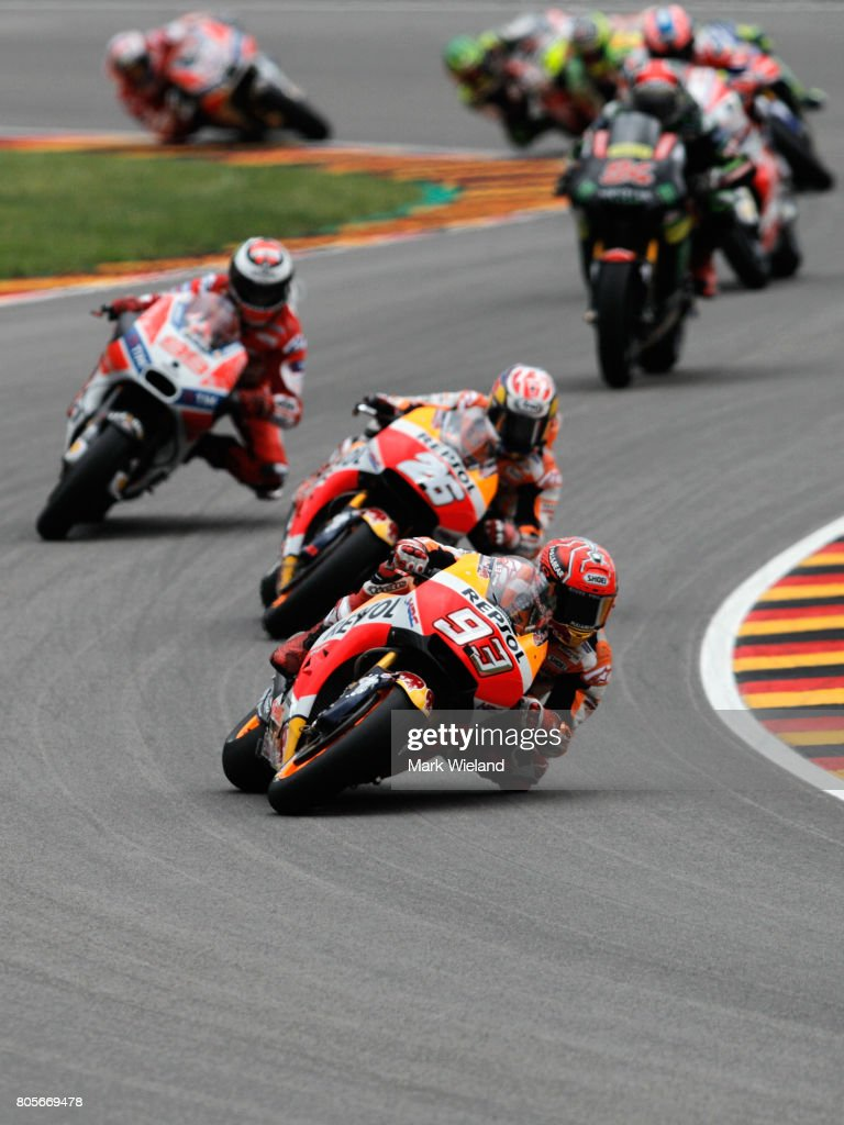Marc Marquez of Spain and REpsol Honda Team in action during the MotoGP of Germany at Sachsenring Circuit on July 2, 2017 in Hohenstein-Ernstthal, Germany.