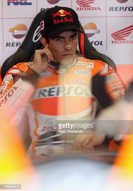 Marc Marquez of Spain and Repsol Honda team in the pits during first practice for the Hertz British Moto GP at Silverstone Circuit on August 30 2013...