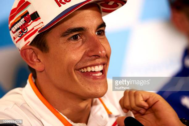 Marc Marquez of Spain and Repsol Honda Team in the press conference before of the Gran Premio Movistar de Aragon of world championship of MotoGP at...