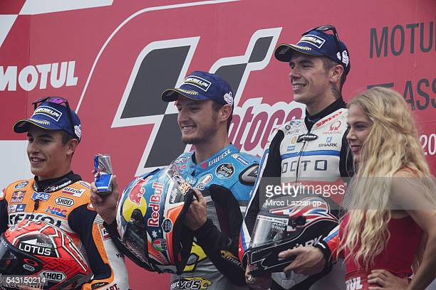Marc Marquez of Spain and Repsol Honda Team Jack Miller of Australia and Marc VDS Racing Team and Scott Redding of Great Britain and Octo Pramac...