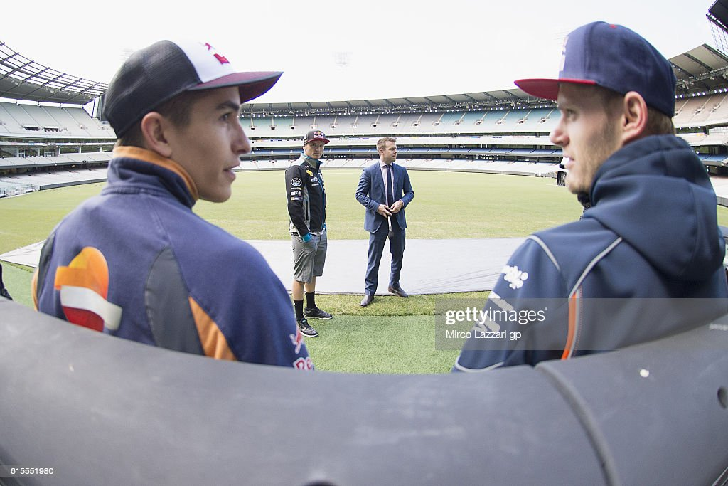 Marc Marquez of Spain and Repsol Honda Team, Jack Miller of Australia and Marc VDS Racing Team and Brad Binder of South Africa and Red Bull KTM Ajo speak with Australian TV speaker during the pre-event in Melbourne Cricket Ground during the MotoGP of Australia - Pre-Event Activities on October 19, 2016 in Melbourne, Australia.