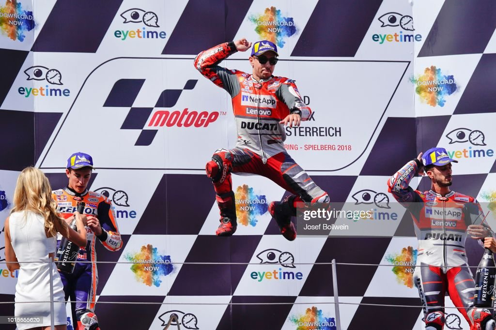 Marc Marquez of Spain and Repsol Honda Team, Jorge Lorenzo of Spain and Ducati Team and Andrea Dovizioso of Italy and Ducati Team during the MotoGp of Austria - Race at Red Bull Ring on August 12, 2018 in Spielberg, Austria.