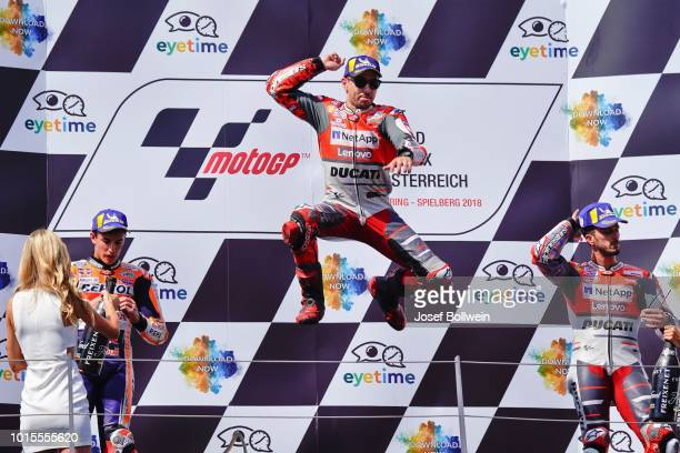 Marc Marquez of Spain and Repsol Honda Team Jorge Lorenzo of Spain and Ducati Team and Andrea Dovizioso of Italy and Ducati Team during the MotoGp of...