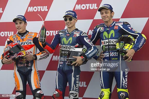 Marc Marquez of Spain and Repsol Honda Team Jorge Lorenzo of Spain and Movistar Yamaha MotoGP and Valentino Rossi of Italy and Movistar Yamaha MotoGP...