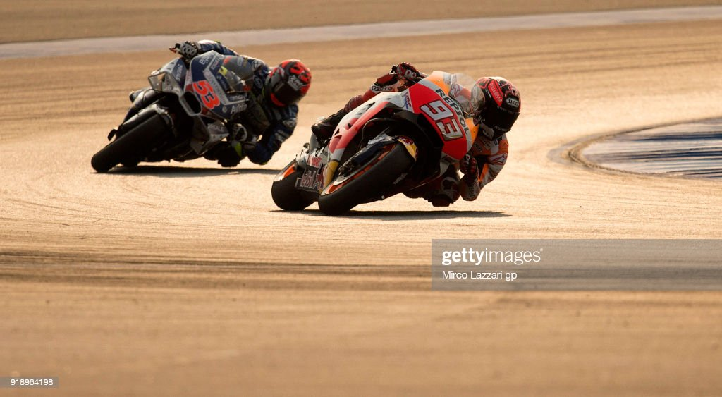 Marc Marquez of Spain and Repsol Honda Team leads Esteve Rabat of Spain and Reale Avintia Racing during the MotoGP Tests In Thailand on February 16, 2018 in Buri Ram, Thailand.